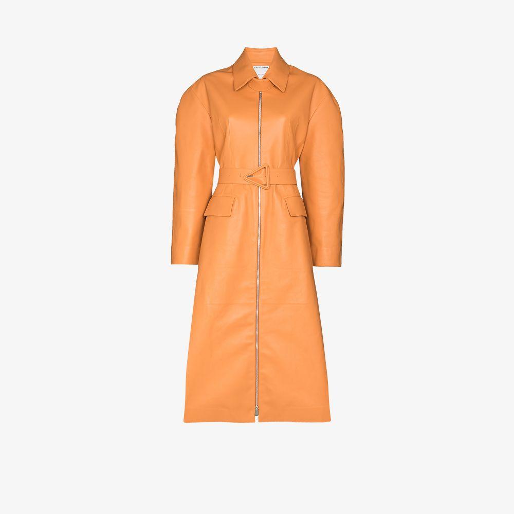 Bottega Veneta Coats NEUTRALS BELTED LEATHER TRENCH COAT