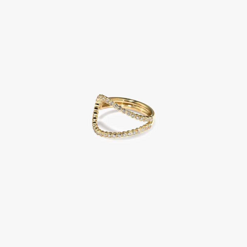 18K Yellow Gold Wave Diamond Ring