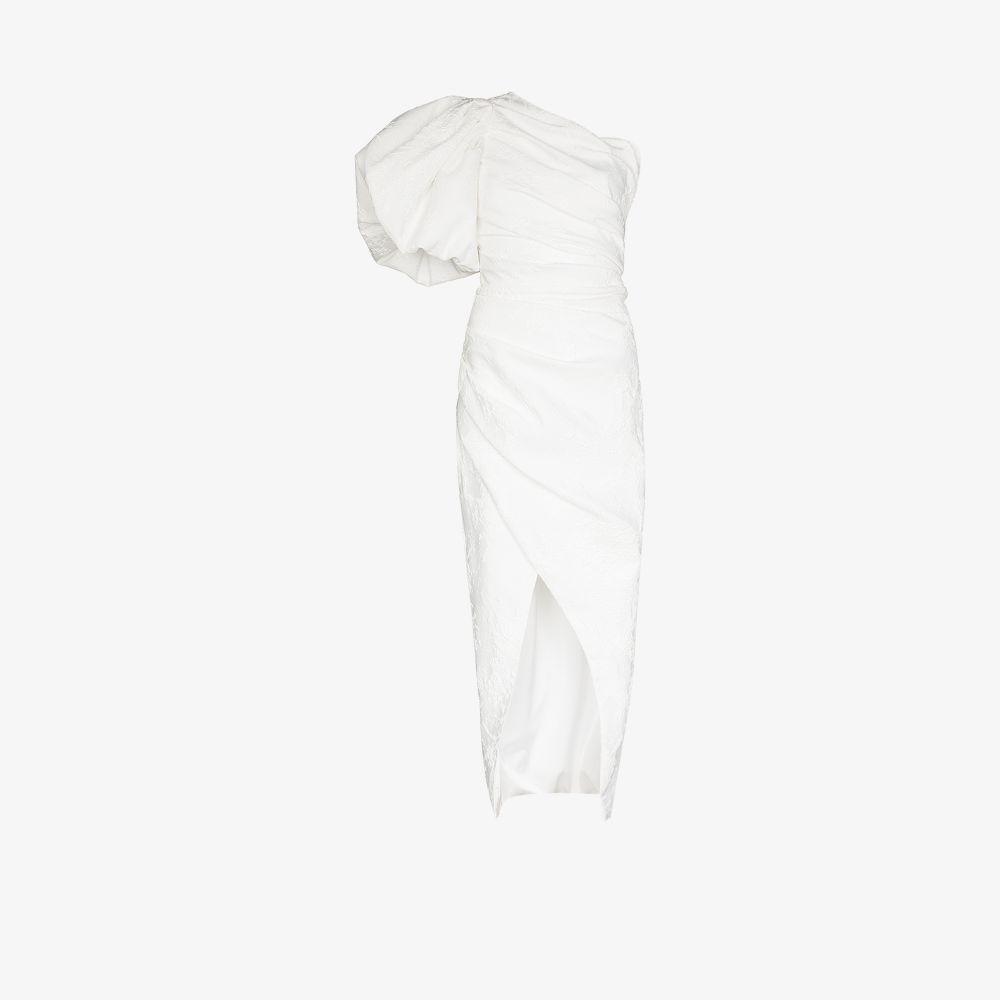 Rasario WHITE PUFF SLEEVE MIDI DRESS