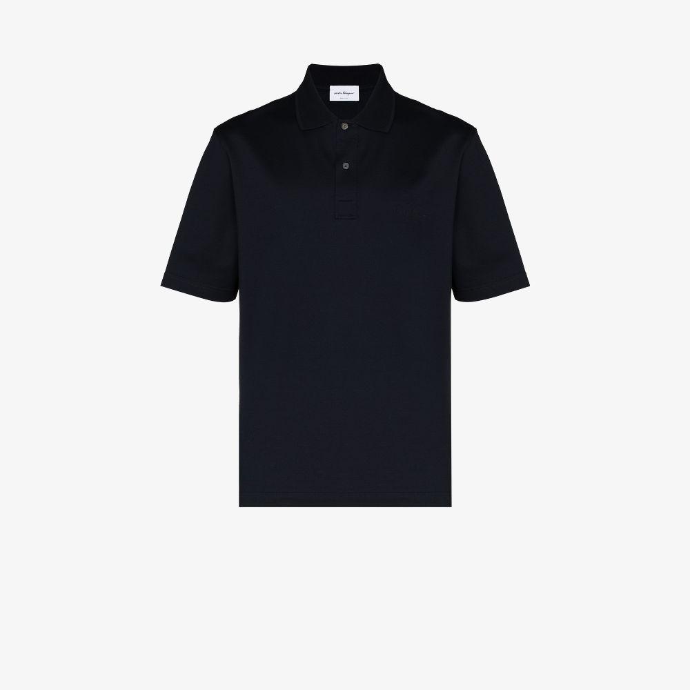Salvatore Ferragamo Embroidered Logo Cotton Polo Shirt In Blue