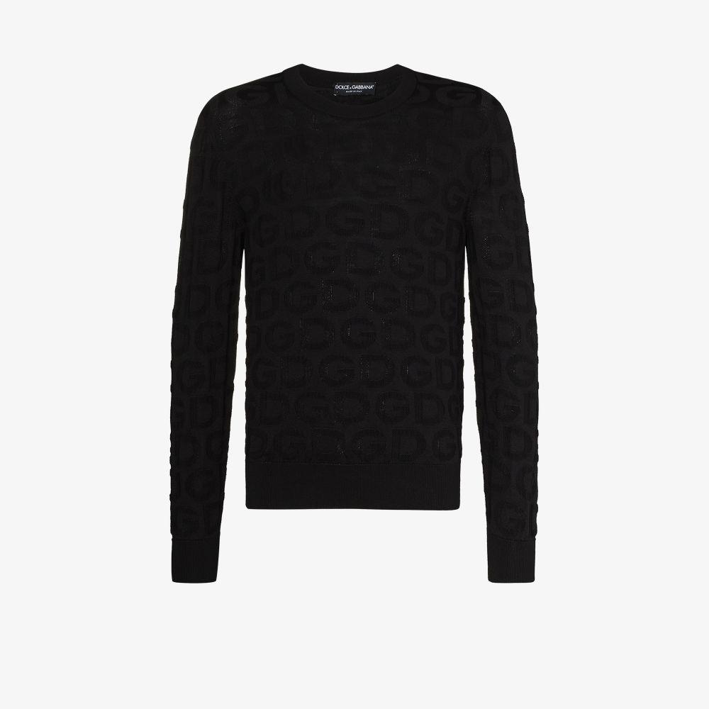 Dolce & Gabbana Silks BLACK SILK LOGO SWEATER