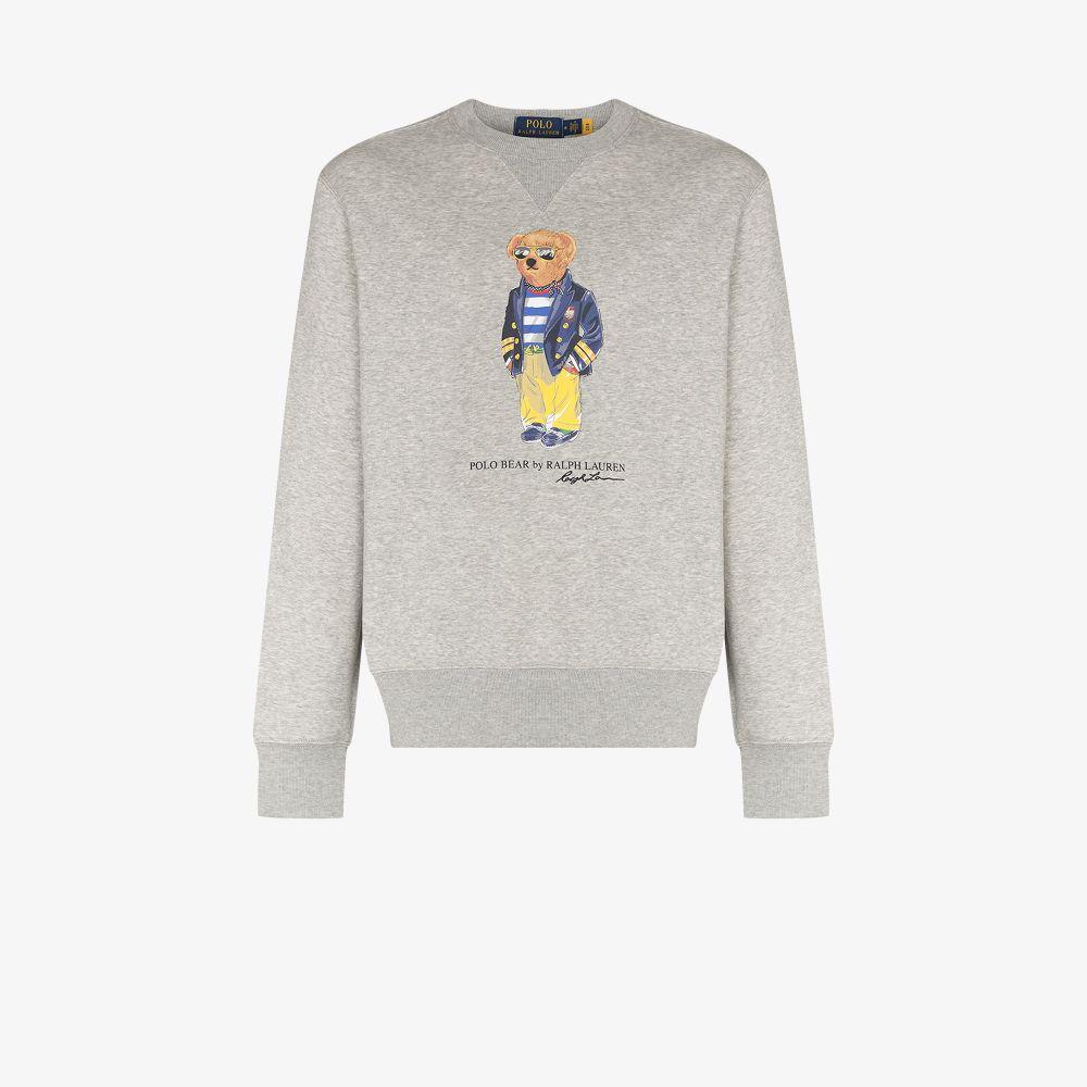 Polo Ralph Lauren Cottons GREY POLO BEAR CREW NECK SWEATER