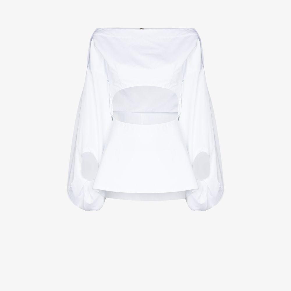 Rosie Assoulin White Fig Cutout Cotton Shirt
