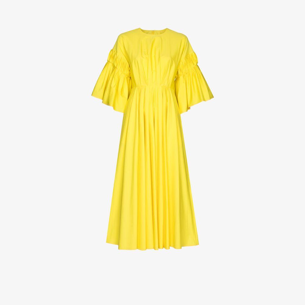 Roksanda Dresses YELLOW IOSEFINA GATHERED COTTON MIDI DRESS