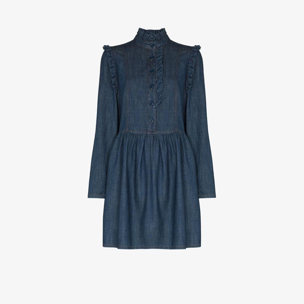 See By Chloé Denims BLUE RUFFLE TRIM DENIM MINI DRESS
