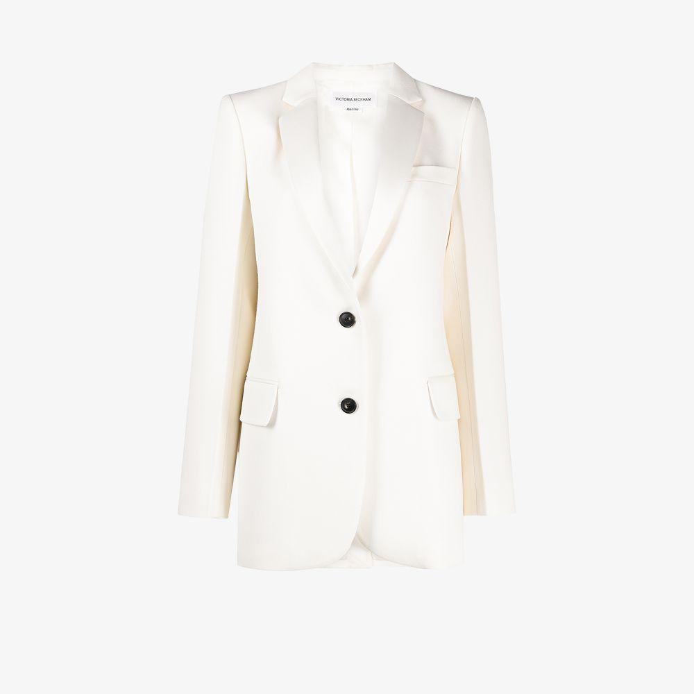Victoria Beckham WHITE SINGLE-BREASTED WOOL BLAZER