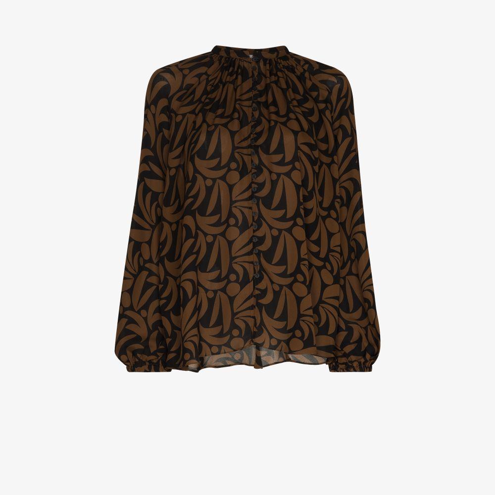 Palm Print Silk Blouse
