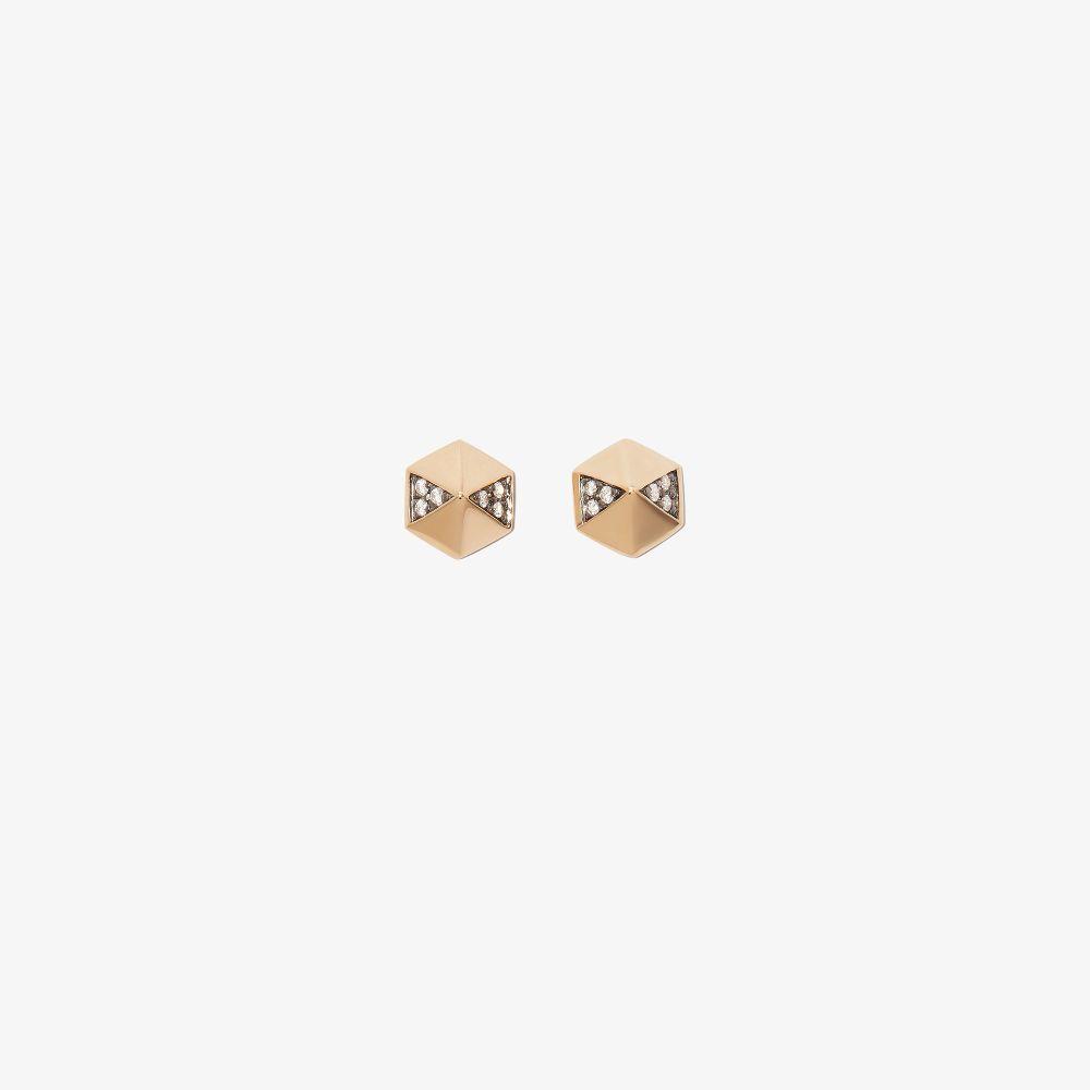 18K Yellow Gold Hexagon Diamond Earrings