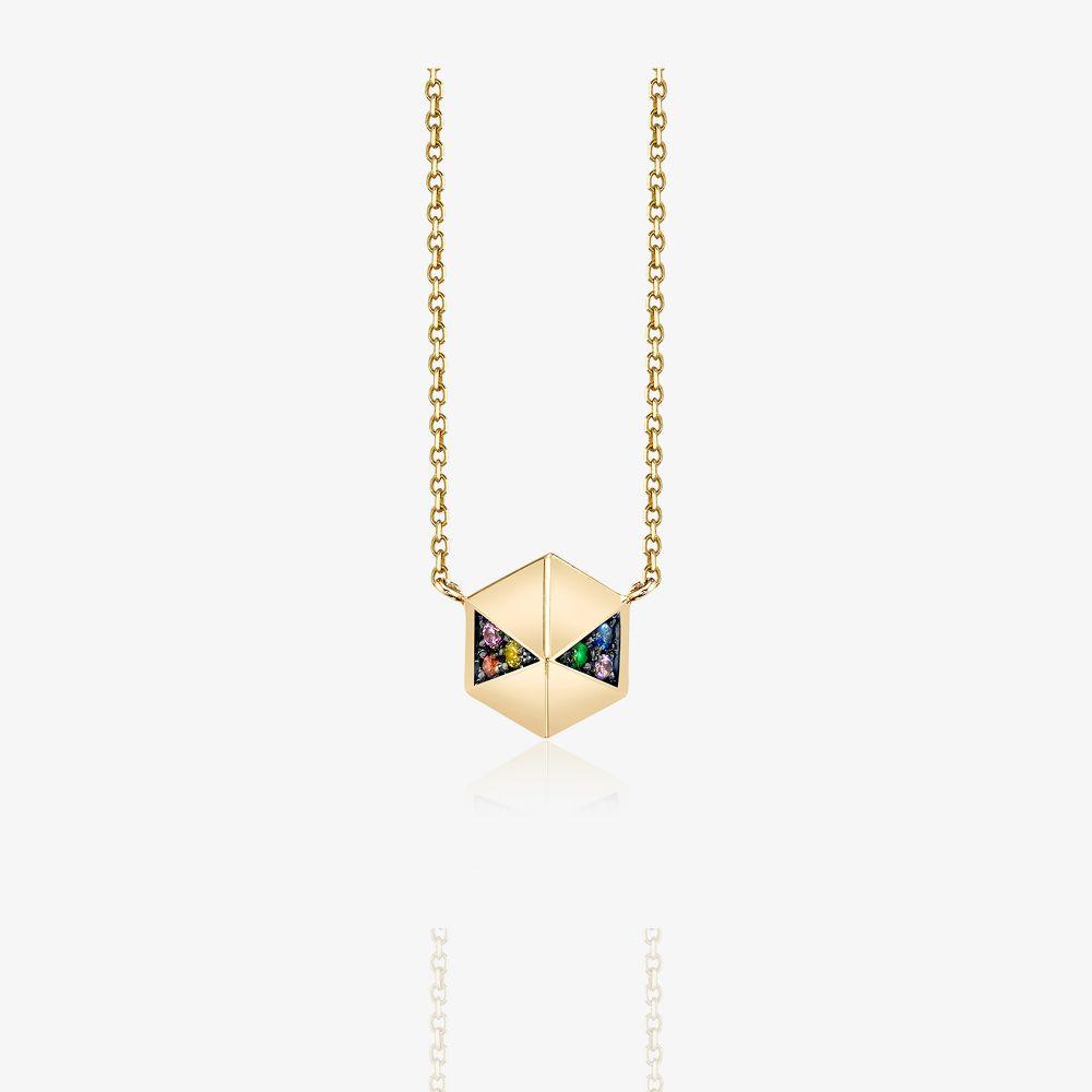 18K Yellow Gold Hexagon Sapphire Necklace