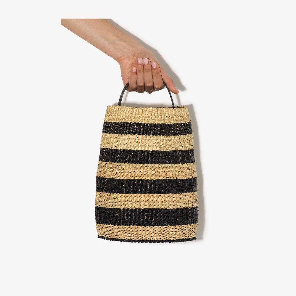 Black And Neutral Akamae N.22 Striped Bucket Bag