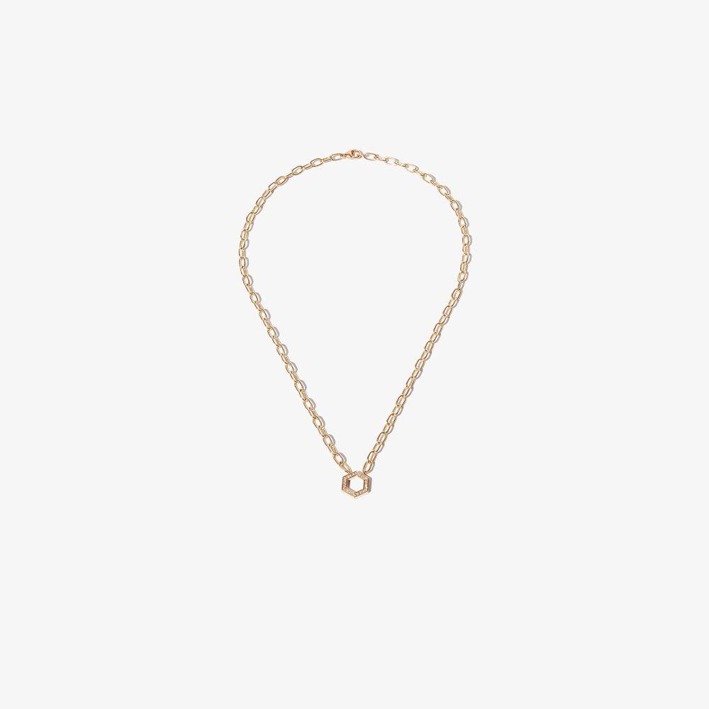 18K Yellow Gold Hexagon Foundation Diamond Necklace