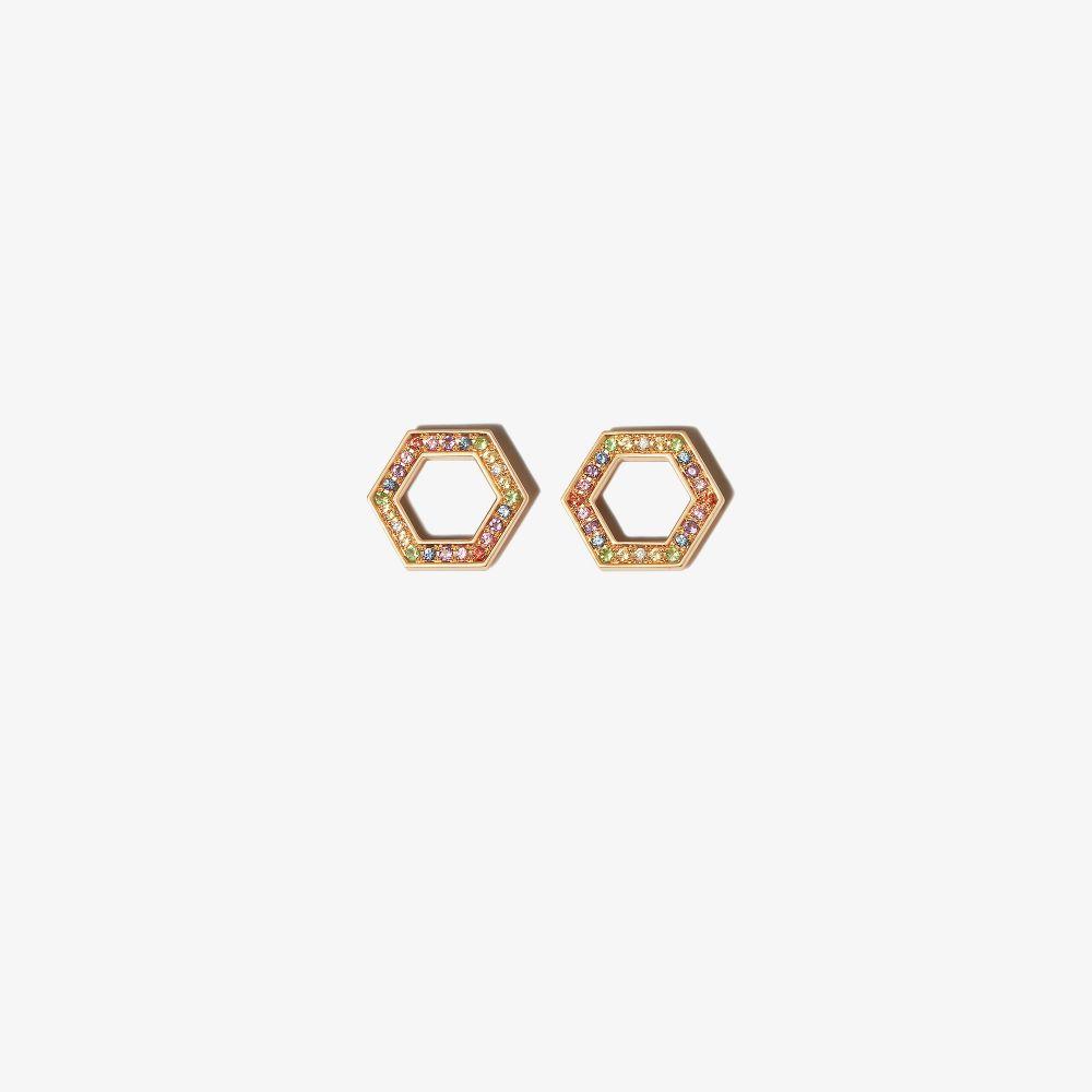 18K Yellow Gold Hexagon Sapphire Earrings