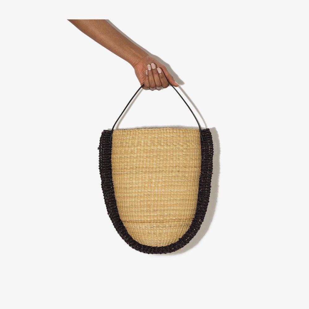 Neutral N.26 Ribbon Tall Straw Shoulder Bag