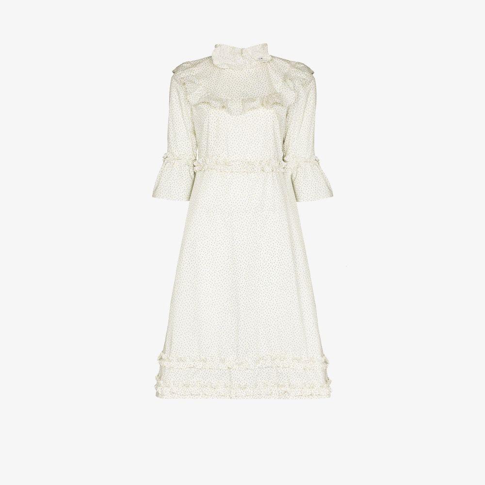 Bib Ruffled Floral Midi Dress