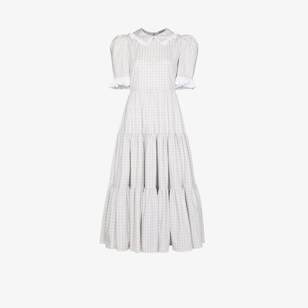 Lucy Ruffled Checked Midi Dress