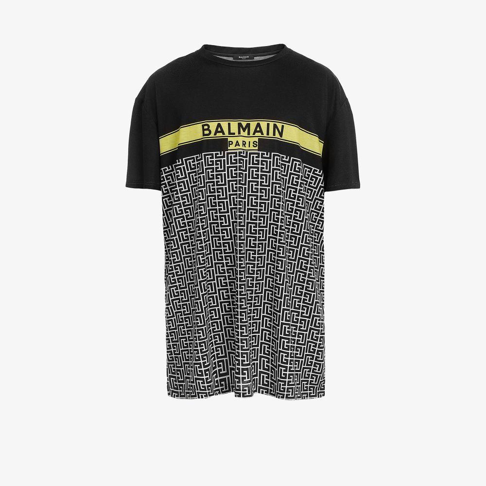 Balmain T-shirts BLACK MONOGRAM PRINT OVERSIZED T-SHIRT