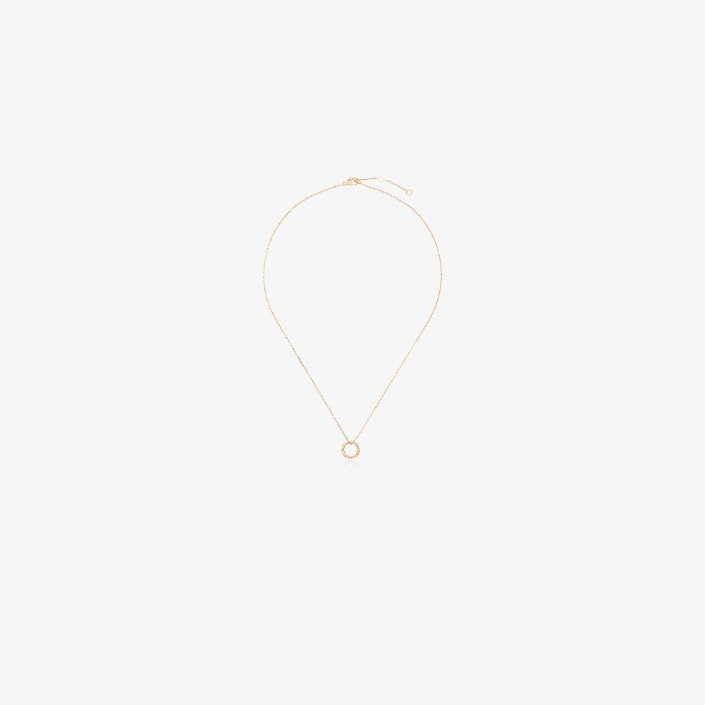 18K Yellow Gold Octogone Diamond Necklace
