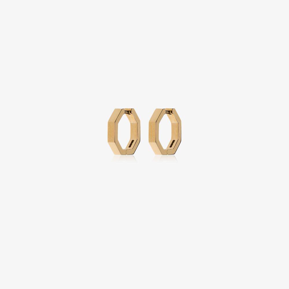 18K Yellow Gold Octogone Hoop Earrings