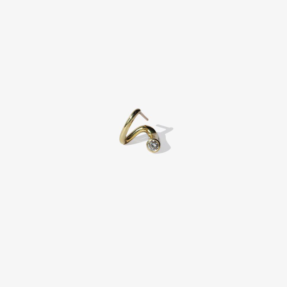 18K Yellow Gold Peak Diamond Earring