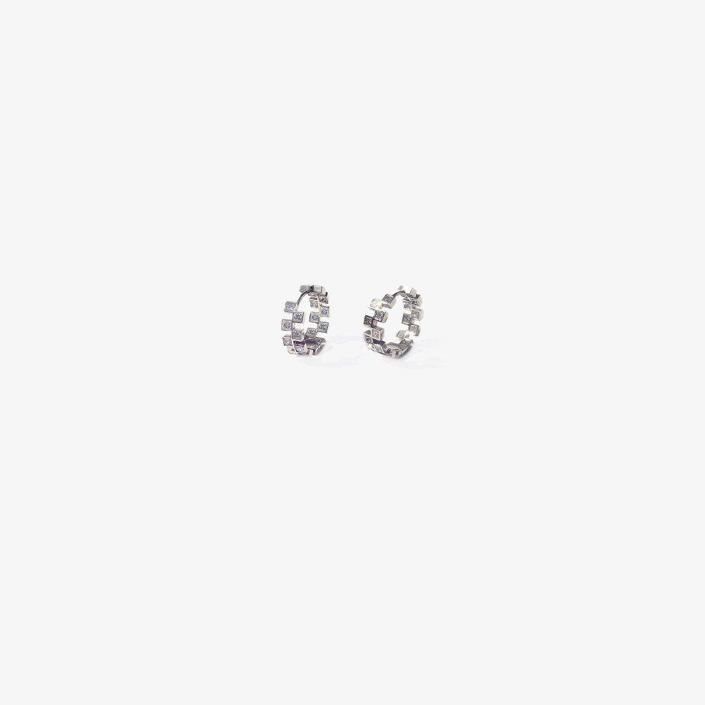 18K White Gold Anerise Diamond Hoop Earrings