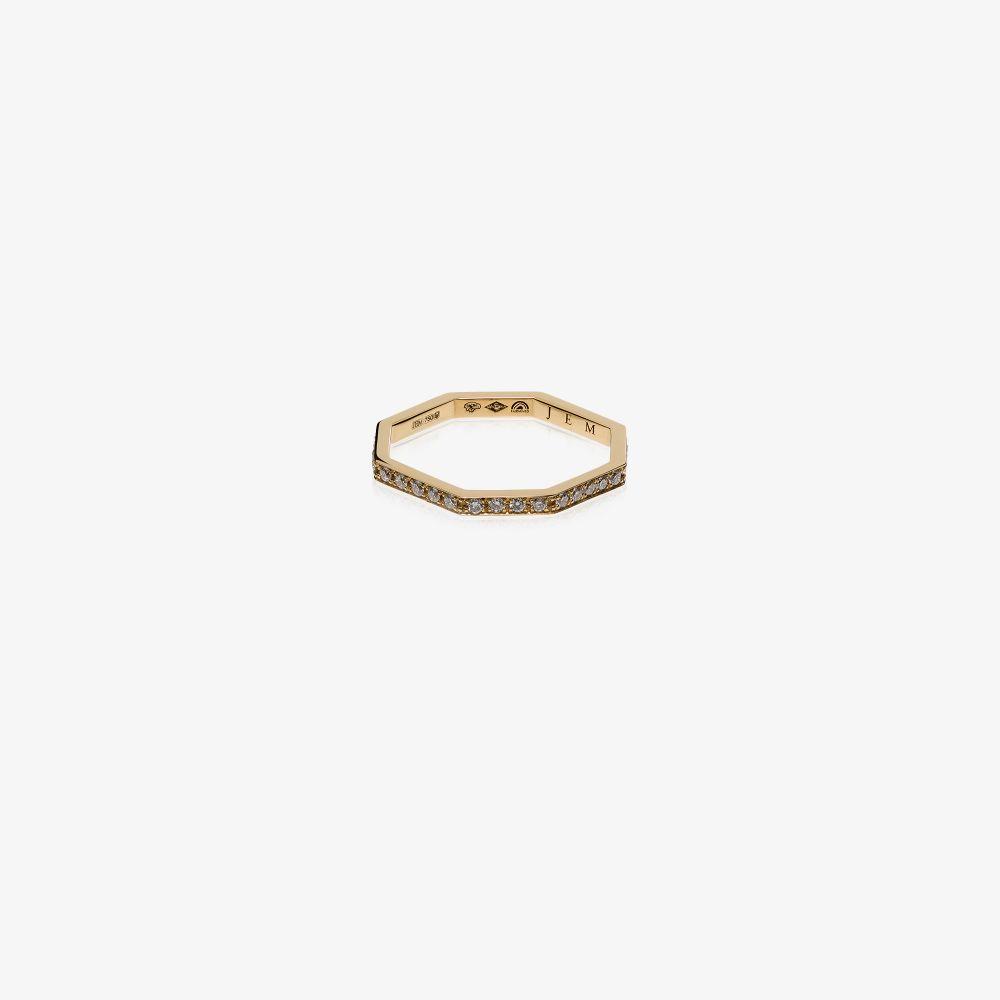 18K Yellow Gold Octogone Diamond Ring
