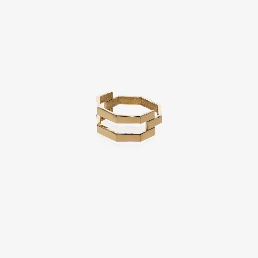 18K Yellow Gold Octogone Triple Ring