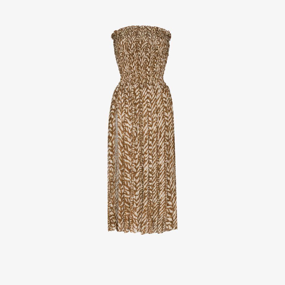 Billie Printed Strapless Midi Dress
