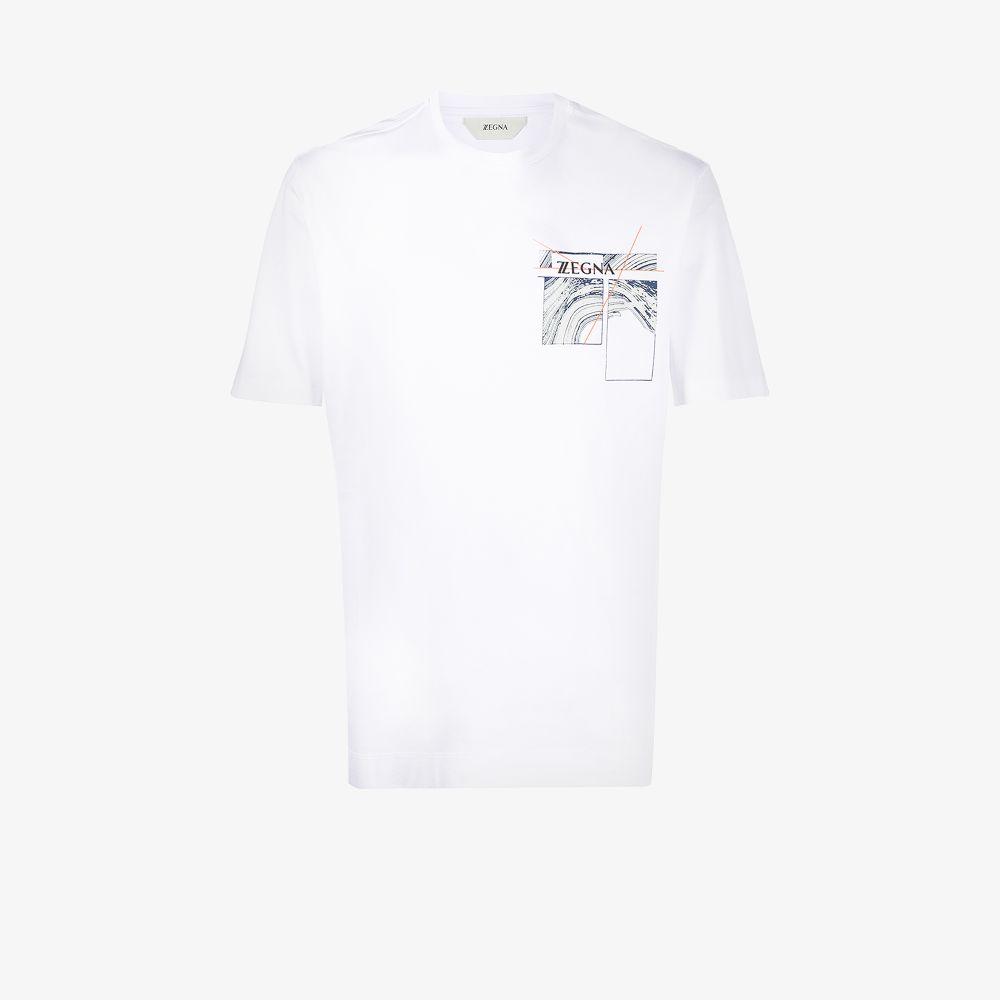Z Zegna Clothing WHITE GRAPHIC PRINT SHORT SLEEVE T-SHIRT