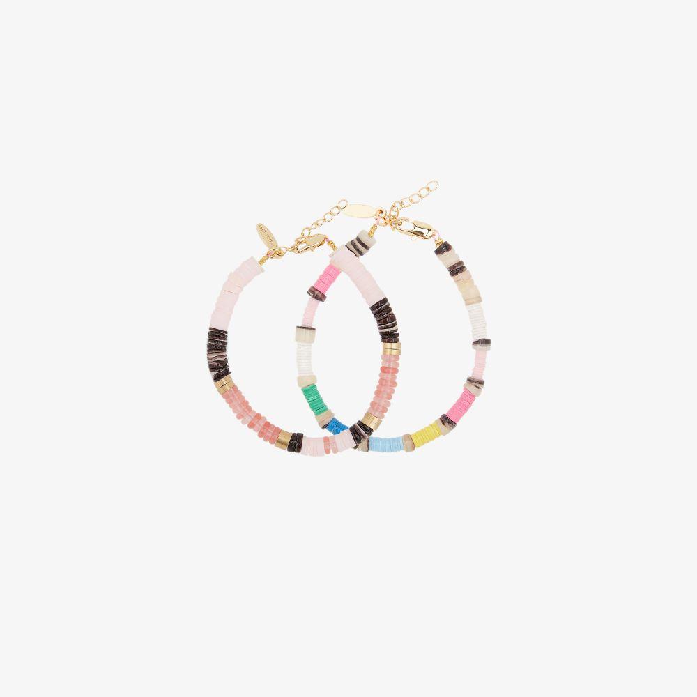 Allthemust Gold-plated Beaded Bracelet Set In Pink