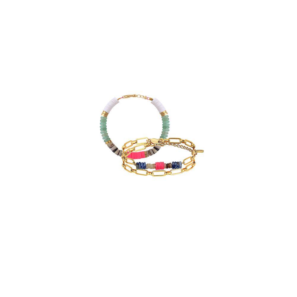 Allthemust Gold-plated Heishi Beaded Bracelet Set