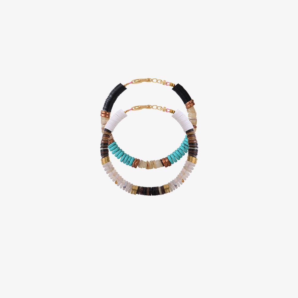 Allthemust Gold-plated Heishi Beaded Bracelet Set In Black