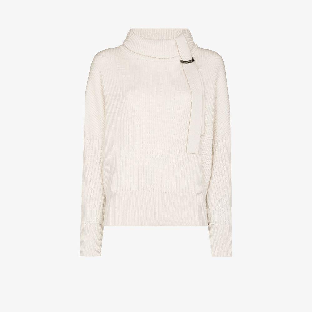 Brunello Cucinelli Roll Neck Ribbed Cashmere Sweater In White
