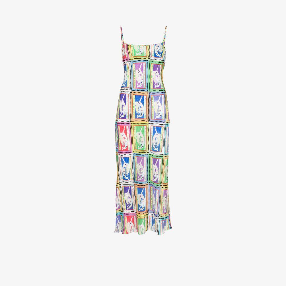 Rixo London WHITE HOLLY MERMAID PRINT SILK DRESS