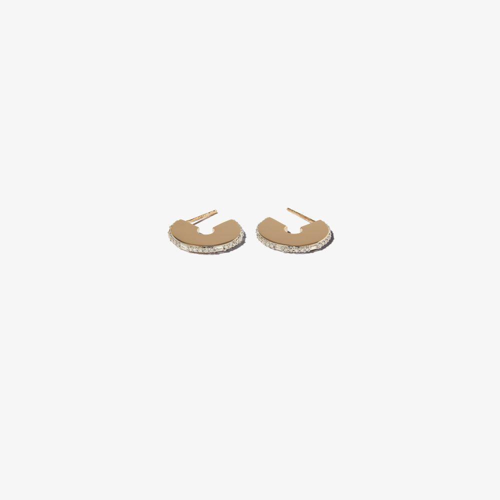 14K Yellow Gold Dog Tag Diamond Hoop Earrings
