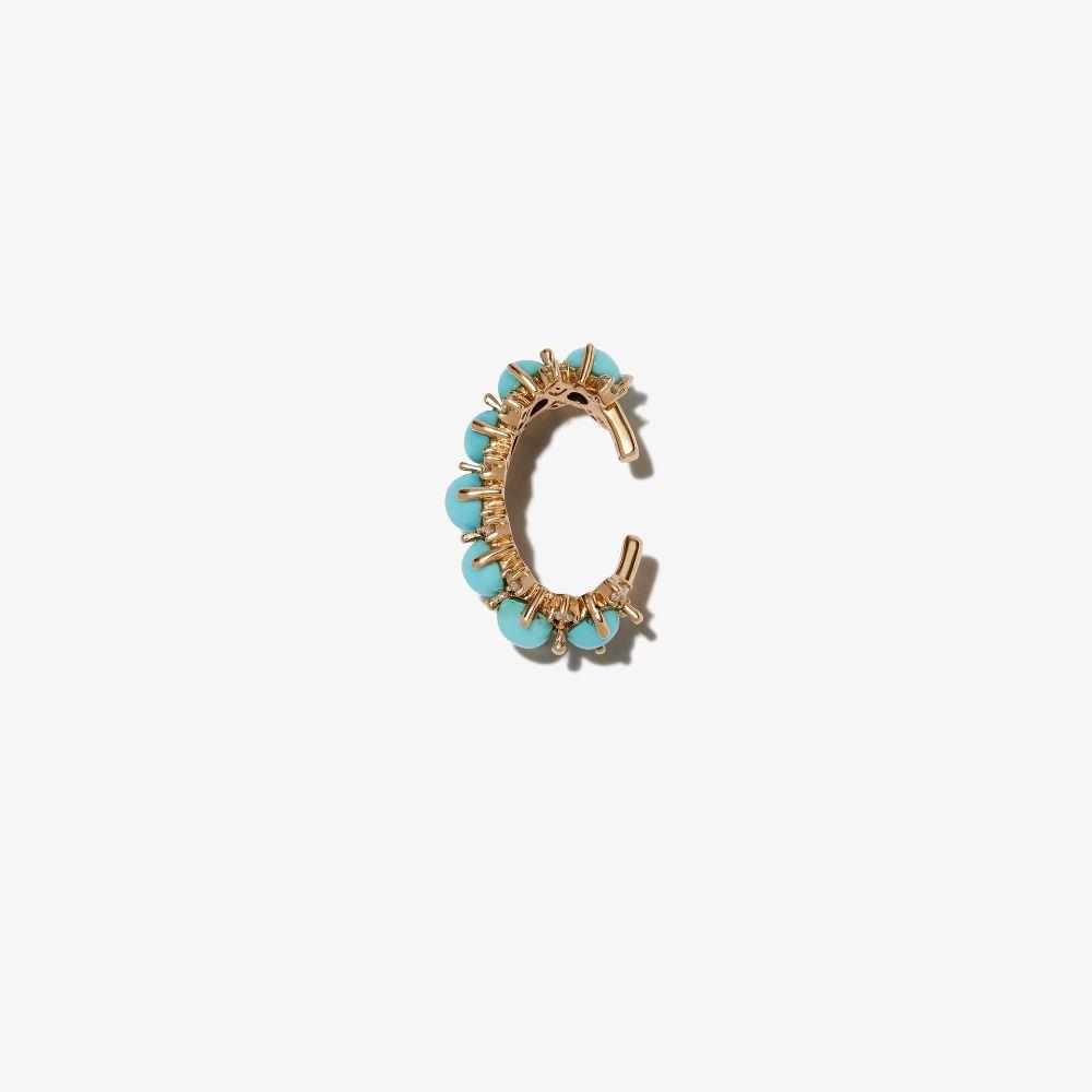 14K Yellow Gold Turquoise Diamond Ear Cuff