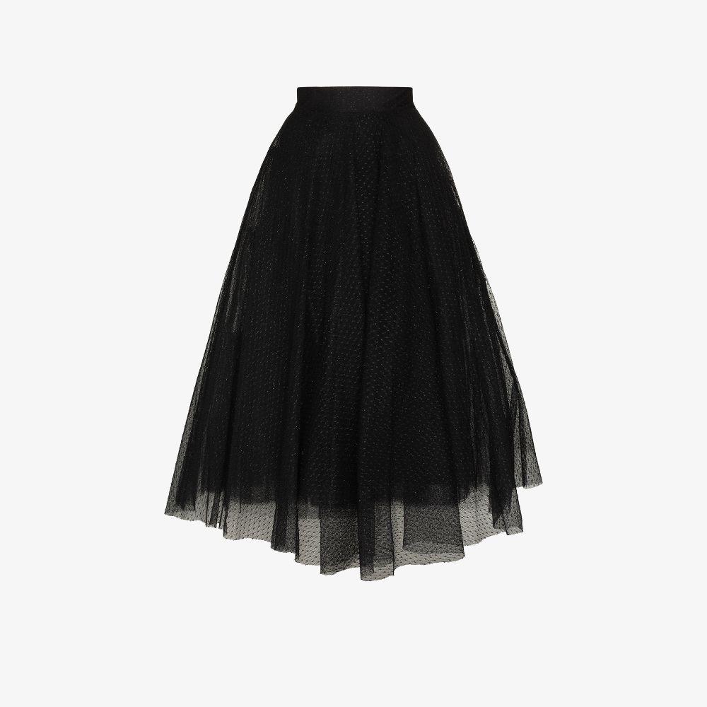 Flared Tulle Midi Skirt
