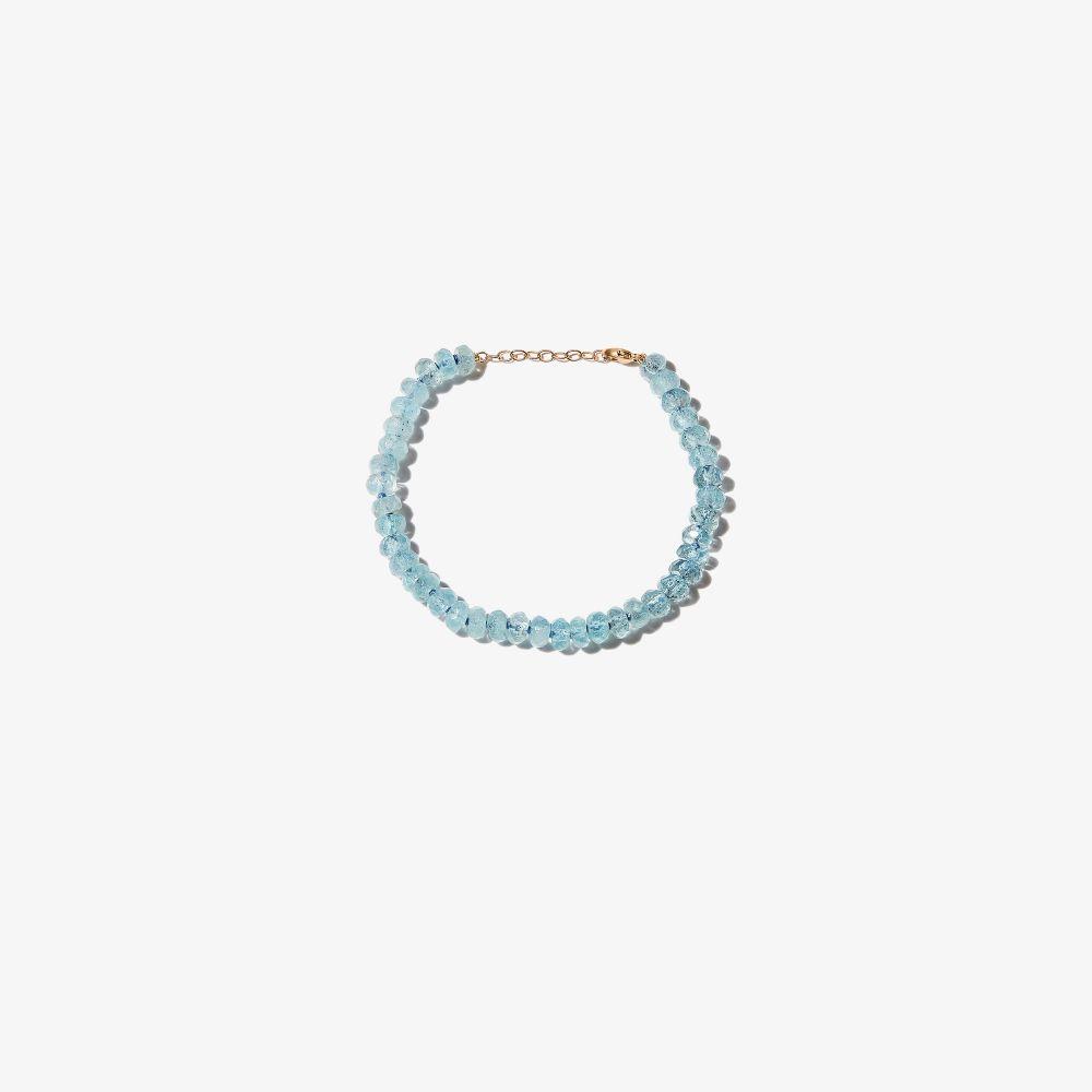 14K Yellow Gold Oracle Beaded Aquamarine Bracelet
