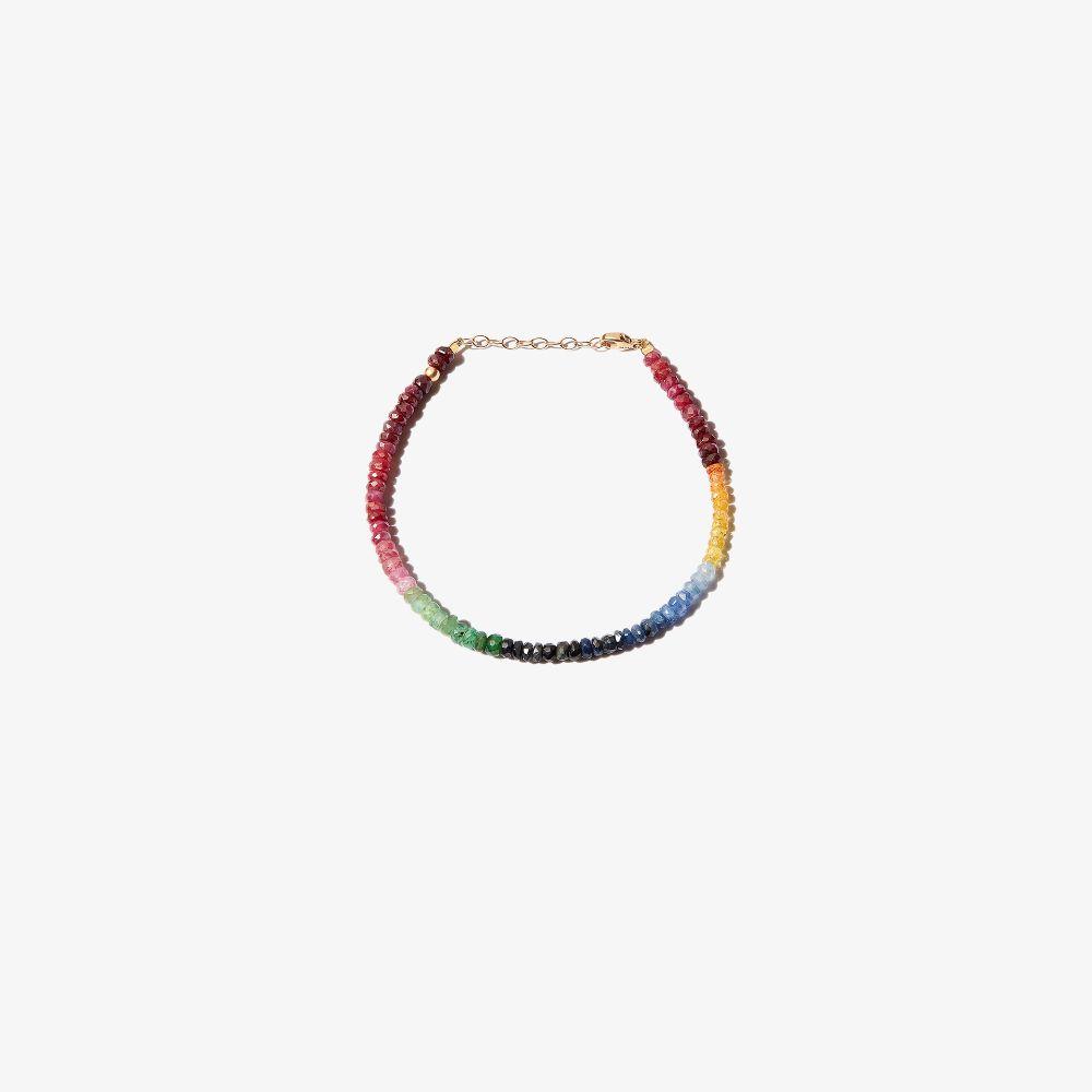 14K Yellow Gold Arizona Dark Rainbow Beaded Sapphire Bracelet