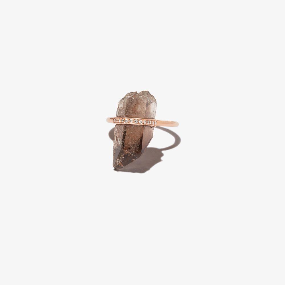 14K Rose Gold Smoky Quartz Diamond Ring