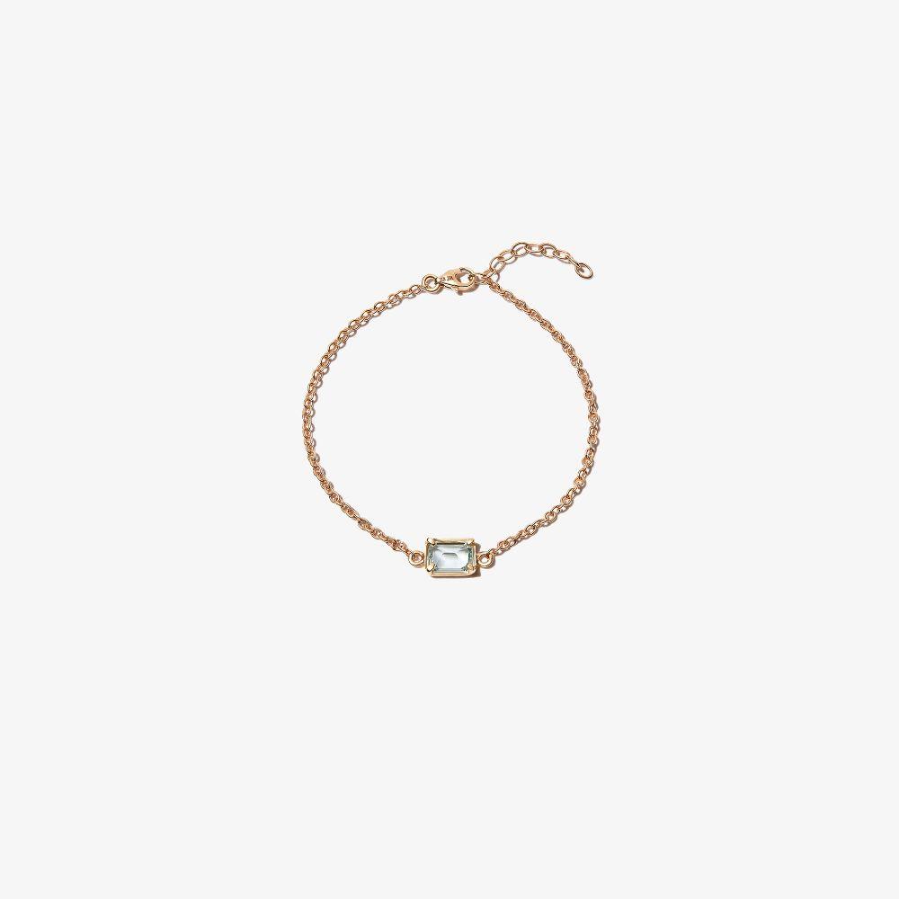 14K Yellow Gold Aquamarine Chain Bracelet