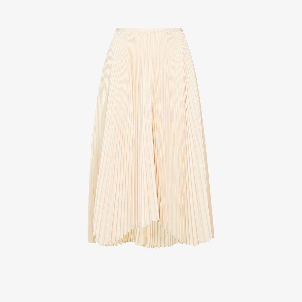 Jil Sander Neutrals Pleated Midi Skirt