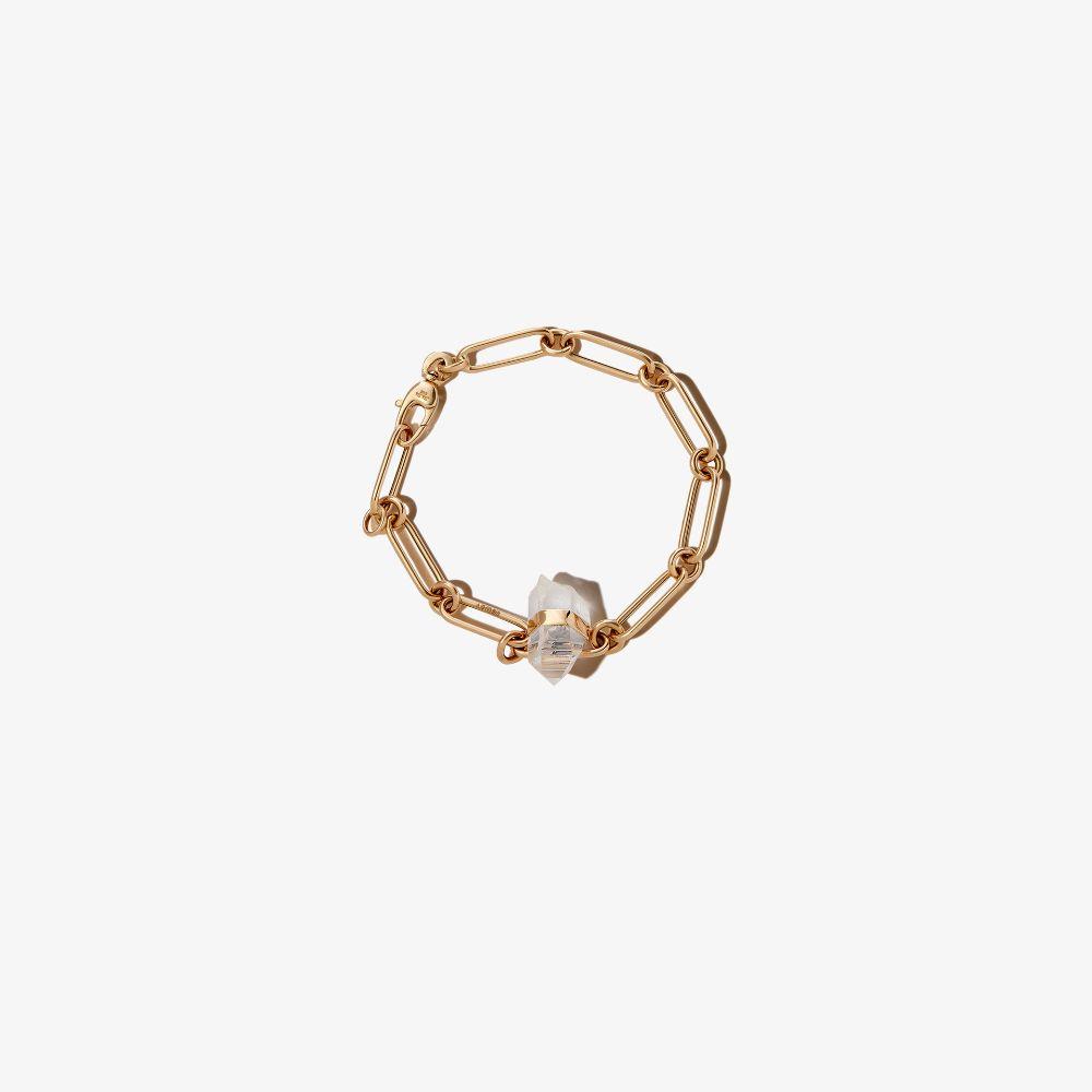 14K Yellow Gold Quartz Jumbo Link Chain Bracelet