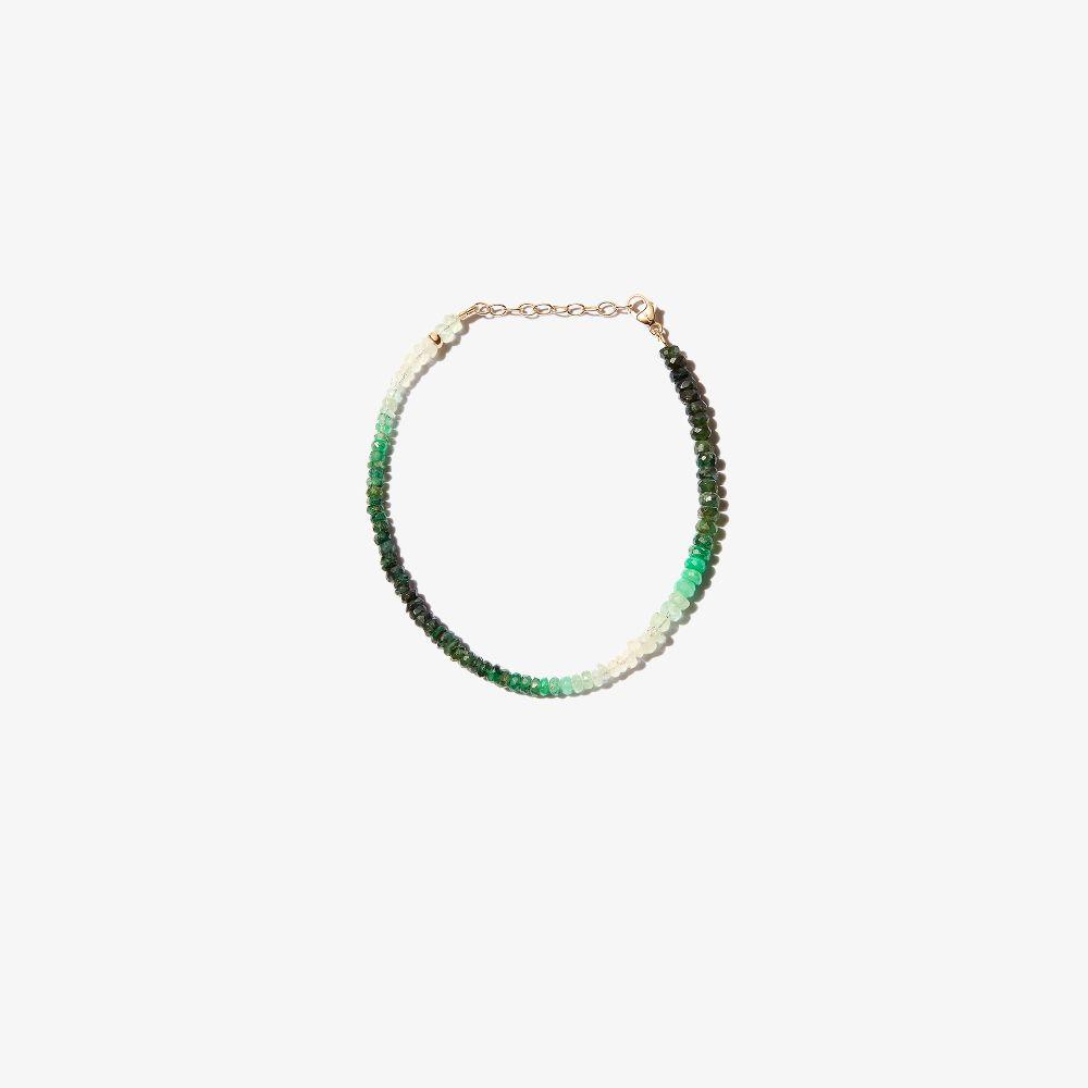 14K Yellow Gold Arizona Beaded Emerald Bracelet