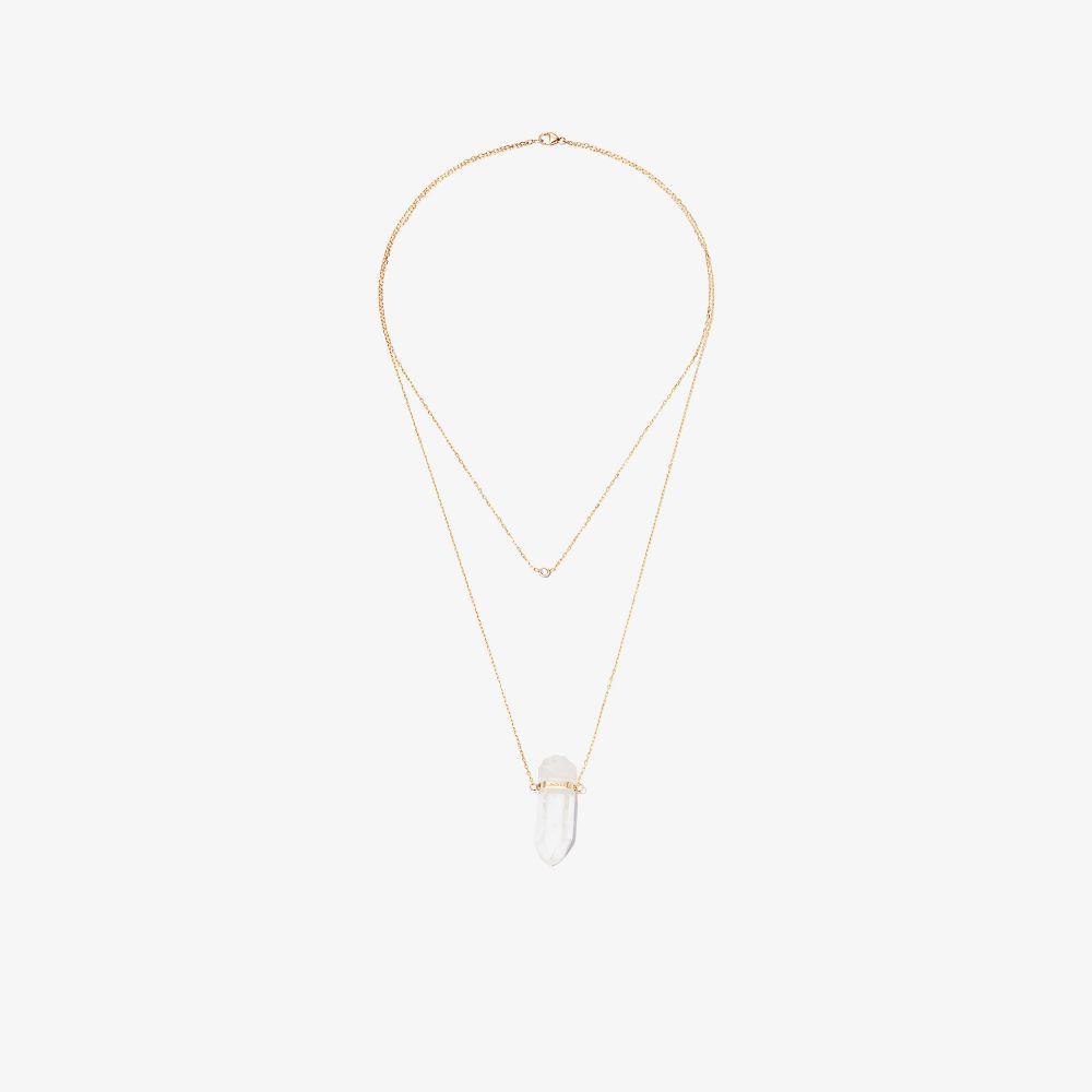 14K Yellow Gold Crystal Quartz Diamond Necklace