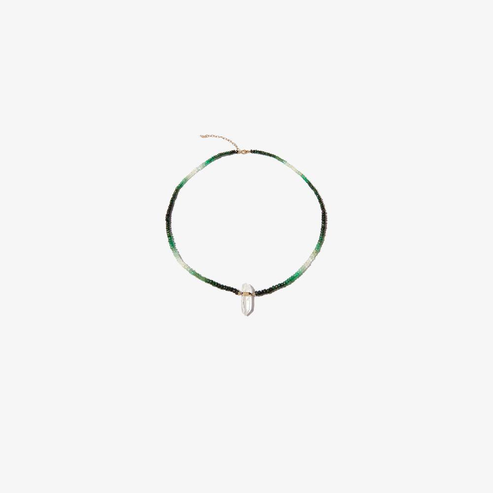 14K Yellow Gold Crystal Quartz Beaded Emerald Necklace