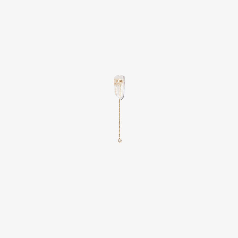 14K Yellow Gold Crystal Quartz Diamond Drop Earring