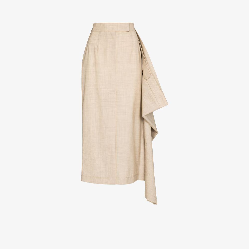 Asymmetric High Waist Midi Skirt