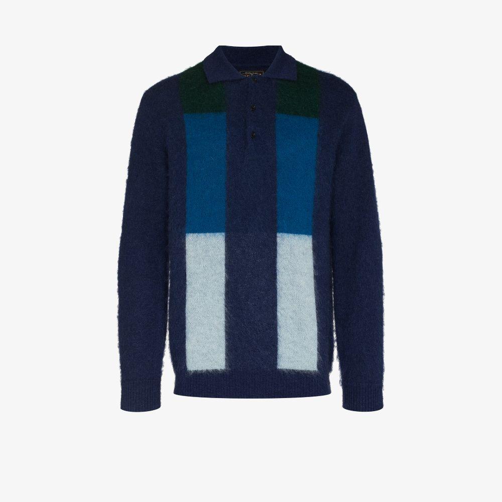 Gradation Stripe Knit Polo Sweater