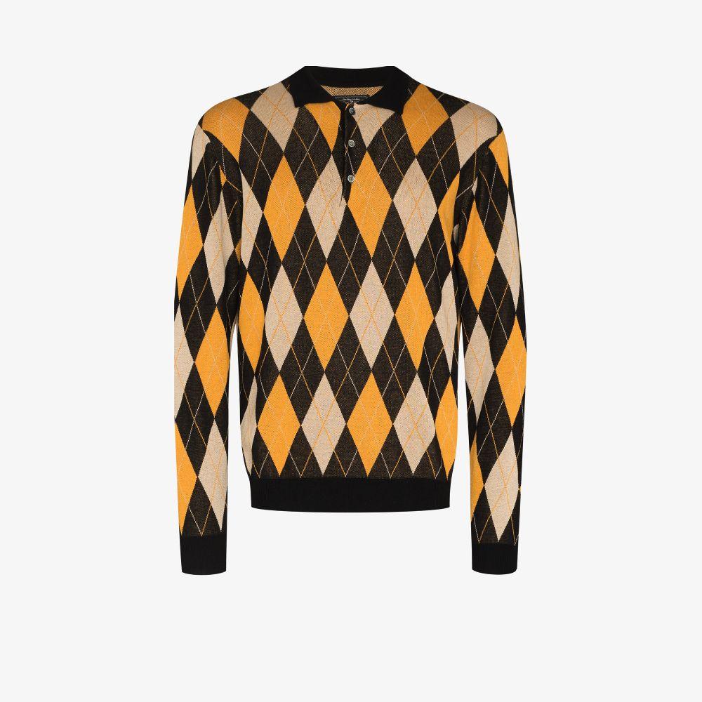 Argyle Knit Polo Shirt