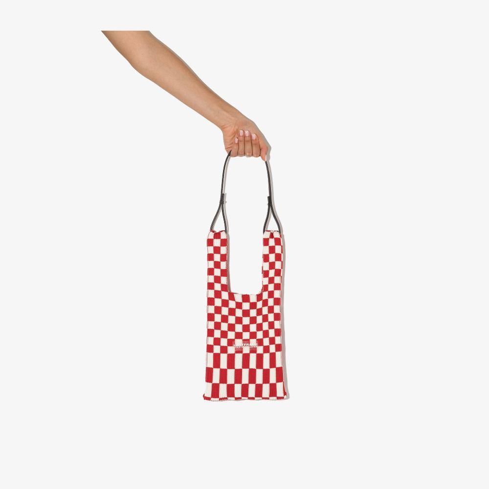 Red And White Small Ichimatsu Checked Tote Bag
